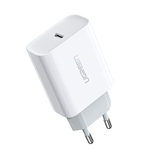 UGREEN 18W Cargador USB Tipo C Power Delivery 3.0, Cargador de Carga Ultrarapida QC 4.0/QC 3.0 para iPad Pro 2018 2020, iPhone 9, 11, XS, XR, X, Xiaomi Redmi Note 7, Redmi Note 8, Nuevo Airpods Pro