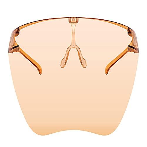 Uniqal - Occhiali da sole anti-appannamento, unisex, visiera, protezione integrale del viso, lenti colorate alla moda, colore: marrone