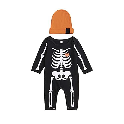 Newborn Baby Boys Girls Halloween Outfit Long Sleeve Skeleton Romper Jumpsuit Bodysuit + Hat 2Pcs Fall Clothes Set (A-Black, 6-9 Months)