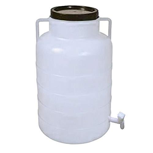 Weithalsfass 60 Liter mit Zapfhahn weiss Schraubdeckelfass Mostfass Wasser Saft Federweiser Griffhenkel Regenfass Tonne Kunststoff Plastik Fass