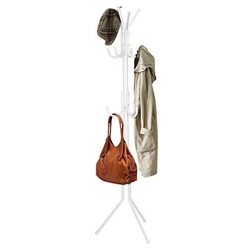 INTEY Kleiderständer Stabil Metall mit 11 Haken Höhe 173 cm Garderobenständer Vintage Kleiderstange Garderobe am Eingang, im Flur, Wohnzimmer, Schlafzimmer (weiß)