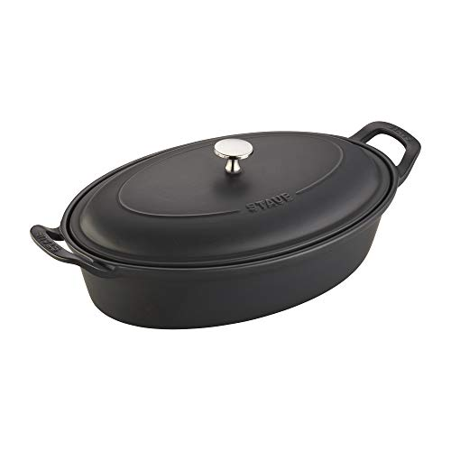 Staub Ceramics Oval Covered Baking Dish, 14-inch, Matte Black