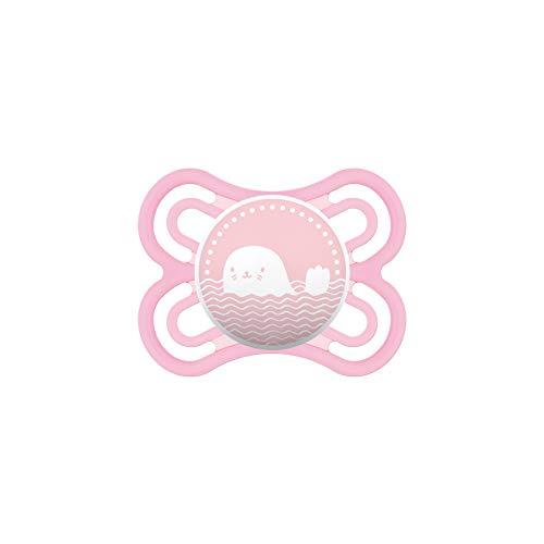 MAM Perfect Schnuller, fördert eine gesunde Zahn- und Kieferentwicklung, Baby Schnuller aus speziellem MAM SkinSoft Silikon mit Schnullerbox, 0 - 6 Monate, rosa