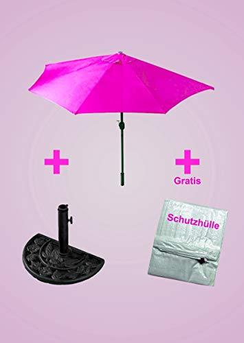IMC Sonnenschirm mit Ständer halbrund - Farbe: pink - Spar-Set inklusive Schirmständer und Schutzhülle - mit Kurbel