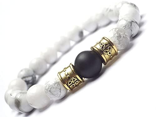 Pulsera de perlas para hombres en howlite blancas y perlas de ágata negro