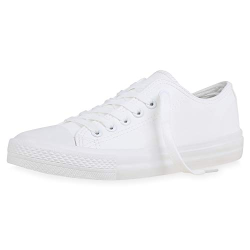 SCARPE VITA Damen Sneaker Low Basic Turnschuhe Schnürer Bequeme Schuhe Stoff Freizeitschuhe Schnürschuhe 183732 Weiss Kunstleder 39