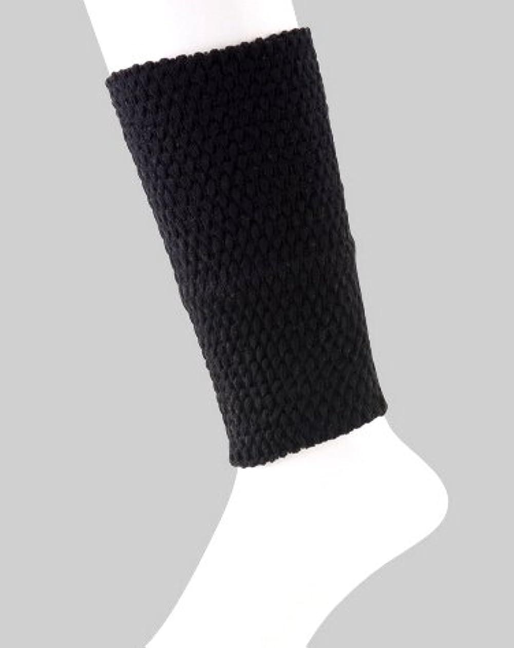 松の木ロバ累積日本製 足首ウォーマー 表綿100% 二重構造で暖かい 春夏 冷房対策 20cm丈 (ブラック)