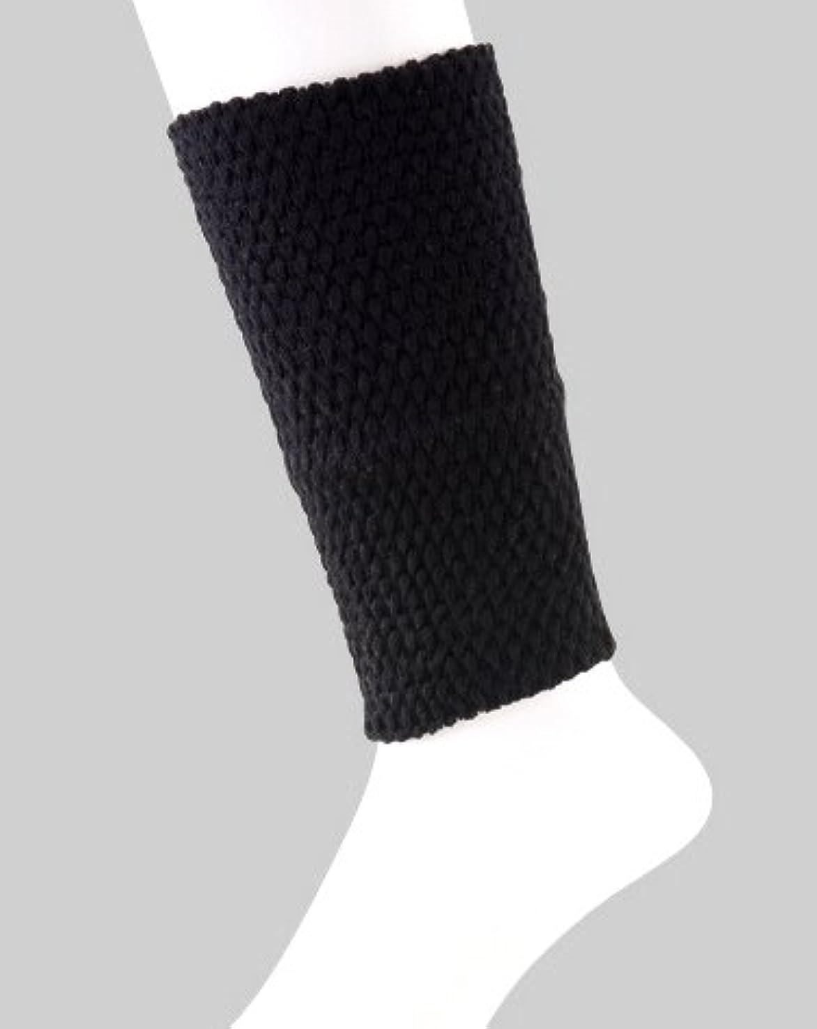 謎中級不均一日本製 足首ウォーマー 表綿100% 二重構造で暖かい 春夏 冷房対策 20cm丈 (ブラック)