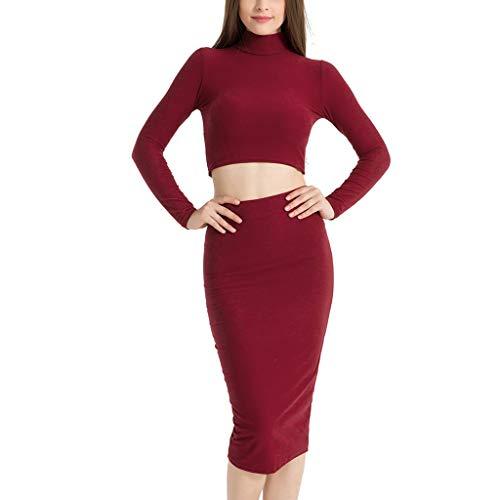 SANNYSIS Damen Elegante Bodycon Kleider Zweiteiler Strickkleid Pullikleid Etuikleid Frauen Midi Röcke Langarm Bauchfrei Shirt Herbst Frühling Sweater Pullover Kleid (S, Rot)