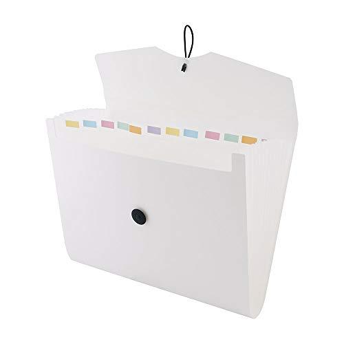 D.RECT 5580 Carpeta de archivos extensible A4 | Acordeón Carpeta Clasificadora de documentos con 12 Compartimentos | Carpeta de Acordeon | Blanco