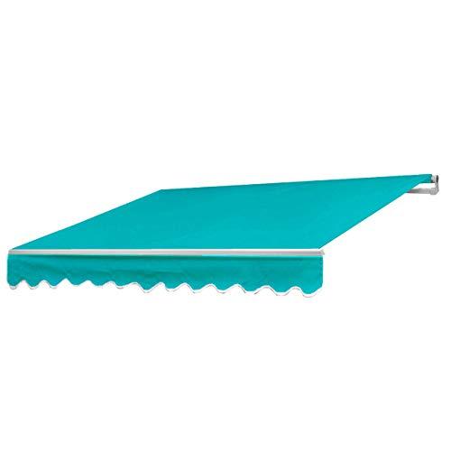 Mendler Alu-Markise HWC-E49, Gelenkarmmarkise Sonnenschutz 2,5x2m - Polyester Türkis