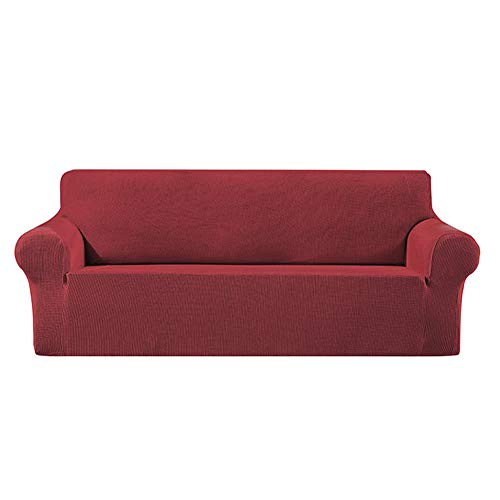 Stretch Sofa Slipcover, Soft Jacquard Sofa Cover, Non-Slip Slipcovers with Elastic Bottom,Machine Washable,Wine red,Two Seater