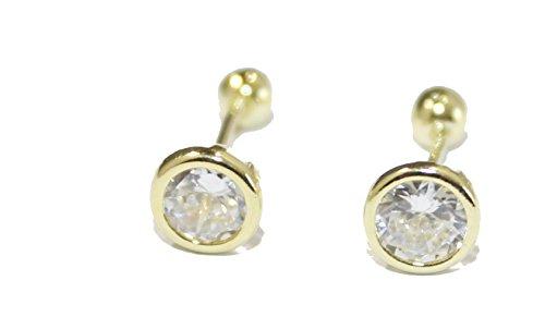 3mm Bisel circonitas cúbicas pendientes 18K chapado en oro pendientes de tornillo espalda pendientes–bebé