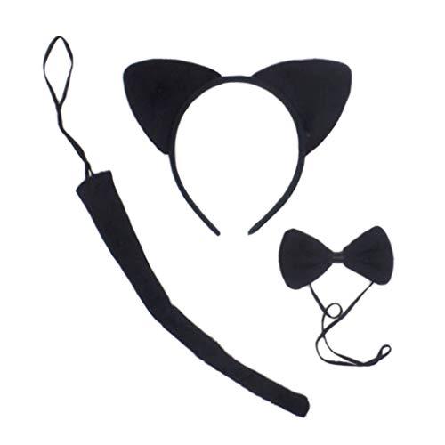 Sheuiossry Juego de 3 piezas de disfraz de animales de Cat Ears de peluche con diadema de cola larga y pajarita para cosplay, fotografa, actuacin en escenario, juego de rol