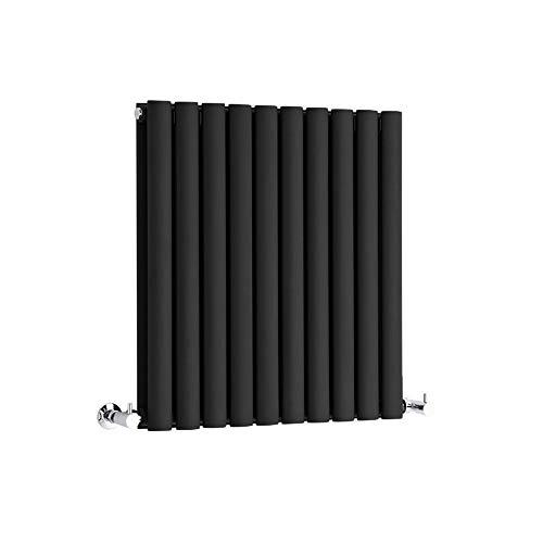 Hudson Reed Radiador Revive Horizontal con Calefacción de Diseño Moderno - Acabado Negro - Diseño de Columna - 635 x 590mm - 932W - Calefacción