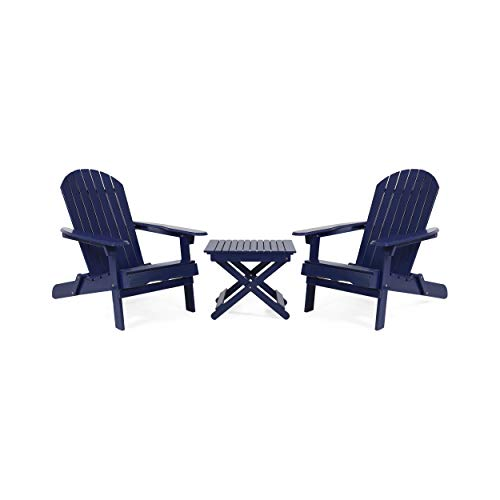 Christopher Knight Home 313009 Stanley Outdoor 2 Seater Acacia Wood Chat Set, Navy Blue