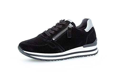 Gabor Damen Low-Top Sneaker, Frauen Halbschuhe,Wechselfußbett,Komfortable Mehrweite (H),Laufschuhe,schnürschuhe,schnürer,schwarz/Grey,42 EU / 8 UK