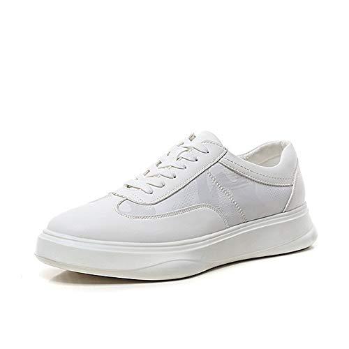 WENQU Comfortabele Sneaker voor Mannen Skate Schoenen Vetersluiting Microvezel Leer & Doek Patchwork Wear-Resisting Rubber Zool Platform Anti Skid Patroon