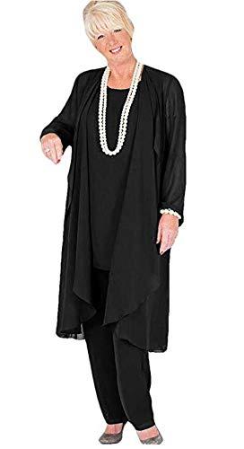 Women's Long Chiffon Pants Suit 3 PC Outfit Plus Size Dress Suit for Mother of The Bride Evening Gowns