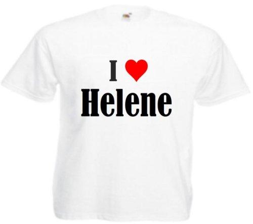 Damen T-Shirt I Love Helene Größe M Farbe Weiss Druck Schwarz
