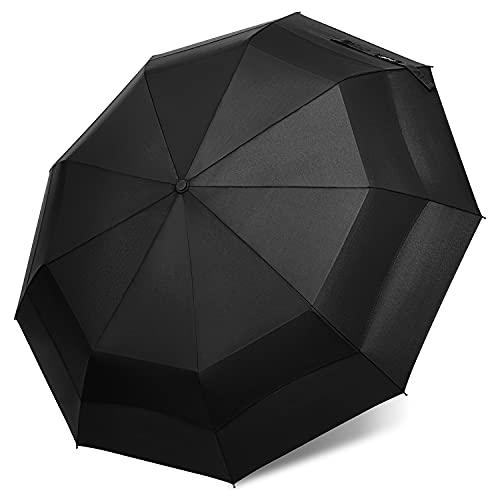 G4Free Paraguas plegable compacto a prueba de viento de 43 pulgadas de fibra de vidrio Dupont Teflon de secado rápido tela 210T abierta y cerrada, resistente, fácil de llevar para mujeres y hombres
