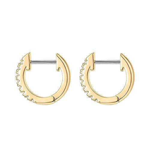 Pendientes de aro para mujer, de acero inoxidable, diseño redondo, antialérgico, color dorado
