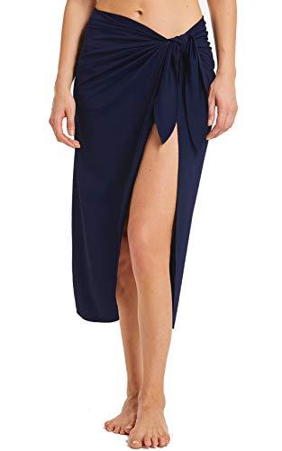 ChinFun Women's Sarongs Wrap Beach Swimwear Bikini Cover Up Long Luxury Bathing Suit Waist Wrap Solid Navy