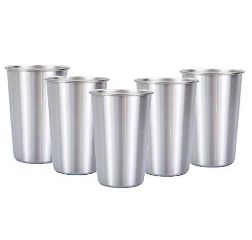 5 tazas de acero inoxidable, la cerveza de metal reutilizable del vaso, apilable vidrio for beber, múltiples opciones de color libres de BPA, adecuados for camping, excursiones, al aire libre, activid