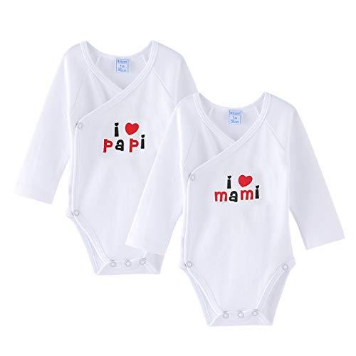 Amomí Body para Bebé, Pack de 2 unidades, 0 Mes Para Recién Nacidos ,Manga Larga, 100% algodón, Suave Bodies con Botones de Presión, Color Blanco y Crudo (1 Mes, I Love Papa, Mama)