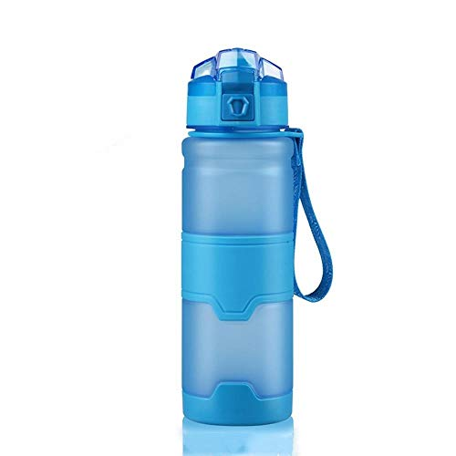 Tazas de plástico verde Space Cup botella de deportes estudiante jugando cubierta portátil a prueba de fugas, azul, 500 ml