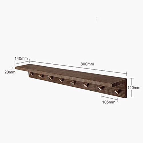 WAJI Wandhaken 8 Haken Edelstahl Glocke Holzboden verwendbar für Mäntel, Roben, Hüte, Kleidung, Wandhaken Schwerlastbügel, Material, Coffee, Größe
