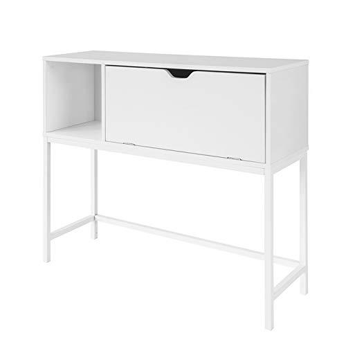 SoBuy FSB21-W Mesa de Entrada Recibidor Mesa de Consola con Cajón 92 x 30 x 80 cm ES