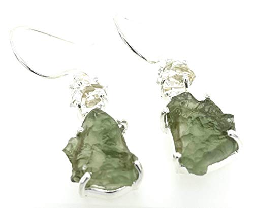 Natural Green Moldavite 925 Solid Sterling Silver Earrings by Natural Rocks by Kala