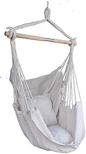 ANPI カンバス ハンモックチェア ロープチェア 室内 戸外 ガーデン 耐荷重量120kg 2クッション付き 5色 帆布 屋外家具 椅子型ハンモック