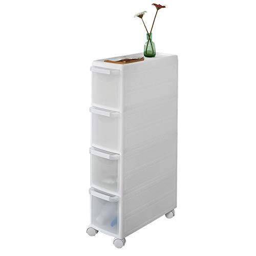 SoBuy® FRG41-W Tour de rangement modulable Chariot pour rangement cuisine salle de bain, Étagère Armoires de cuisine sur roulettes - 4 tiroirs