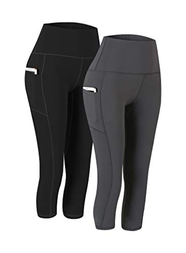 Fengbay 2 Pack High Waist Yoga Pants, Pocket Yoga Pants Capris Tummy Control Workout Running 4 Way Stretch Yoga Leggings