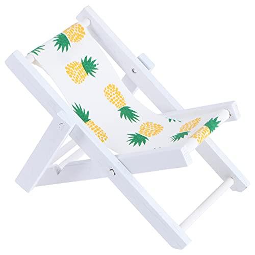 WINOMO Mini Liegestuhl Deko Holz Handyhalter Miniatur Strand Stuhl Puppenliegestuhl Strandstuhl Klappstuhl Mini- Stranddekoration für DIY Mikro Landschaft Puppenhaus Gartenmöbel 2 Stück Ananas