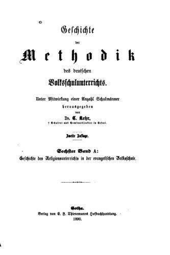 Geschichte des Methodik des Volksschulunterrichtes