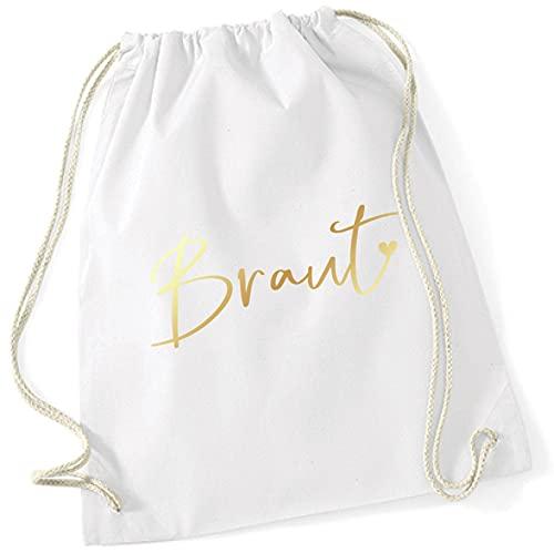 Miss Lovely JGA Bolsa de deporte mochila de tela novia con corazón en blanco & oro accesorios & accesorios & accesorios & accesorios para despedida de soltera, despedida de soltero mujeres fiesta