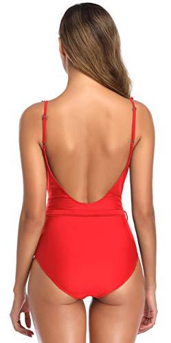 SHEKINI Mujer Traje de Baño de Una Pieza para Mujer Traje de Baño de Una Pieza Ropa de Playa Sin Espalda Sexy (M,C-Rojo)