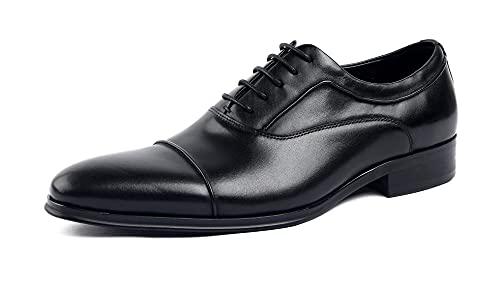 [SERDAOMANI] メンズシューズ レザー ビジネスシューズ レースアップ サドルシューズ ストレートチップフォーマル 本革 革靴 内羽根 紳士靴 ラウンドトゥ 履き心地 ドレスシューズ ウエスタン オフィス ブラック ブラウン294-16 (ブラッ