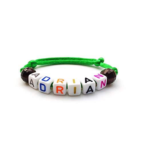 Pulsera personalizada ADRIAN con letra del alfabeto; Joyas con nombre, mensaje, logo, inicial para hombre. (reversible, personalizable) para adultos y niños