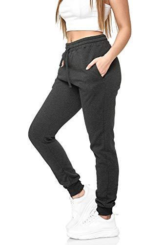 Damen Jogginghose Sporthose Frauen Trainingshose Sportswear XXL XXXL XXXXL joggpants Sweatpants Homewear Baumwolle Basic Freizeithosen Mehrfarbig 5000JK (Antrazit, S)