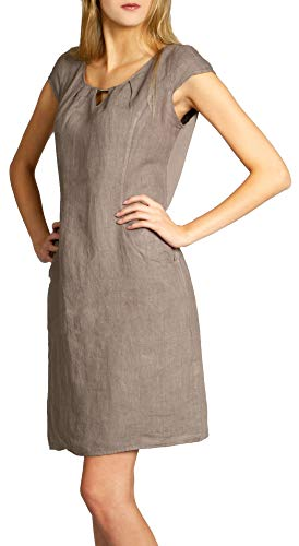 Caspar SKL020 knielanges Damen Sommer Leinenkleid mit eleganter Metallspange bis Größe 50, Farbe:Taupe, Größe:S - DE36 UK8 IT40 ES38 US6