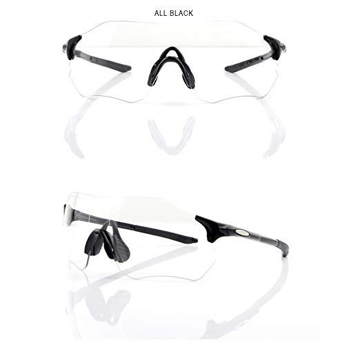 HKYMBM Gafas de Sol polarizadas, Lentes de Deporte fotocrómicas, Lentes de Cambio de Color para Todo Clima, protección 100% contra Rayos UV, para Esquiar, Correr,AllBlack