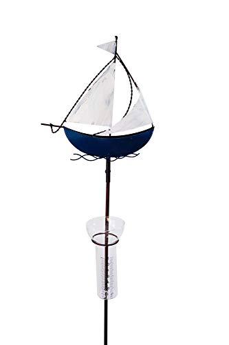 Amicaso Regenmesser Segelboot Niederschlagsmesser Gartendeko aus Metall/Echtglas Wetterstation Gartenstecker