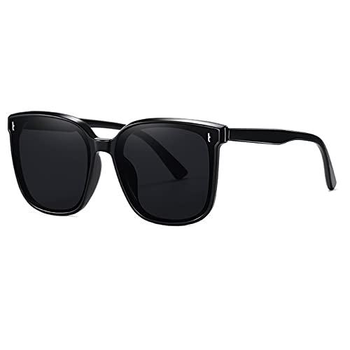 Greatangle-UK Gafas de Sol cuadradas de Gran tamaño Protección UV 400 Gafas de Sol Vintage Gafas de Sol Femeninas Gafas de Sol no polarizadas Negro Brillante C01-P01 58 * 143 * 143 mm
