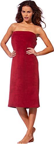 Morgenstern Saunakilt Damen Saunatuch rot 90 cm lang Saunahandtuch zum Knöpfen mit Gummizug Frauen Baumwolle Microfaser Viskose