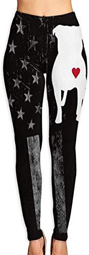 MODORSAN Leggings Estampados en 3D de Pitbull Heart American para Mujer, Mallas elásticas Suaves de Yoga para Entrenamiento, Mallas elásticas de Motociclista, Mallas con Estampado Suave-L