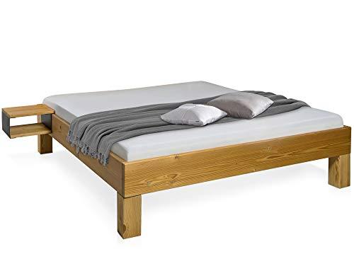 moebel-eins CURBY 4-Fuß-Bett, Material Massivholz, rustikale Altholzoptik, Fichte gebürstet, 140 x 200 cm, ohne Kopfteil